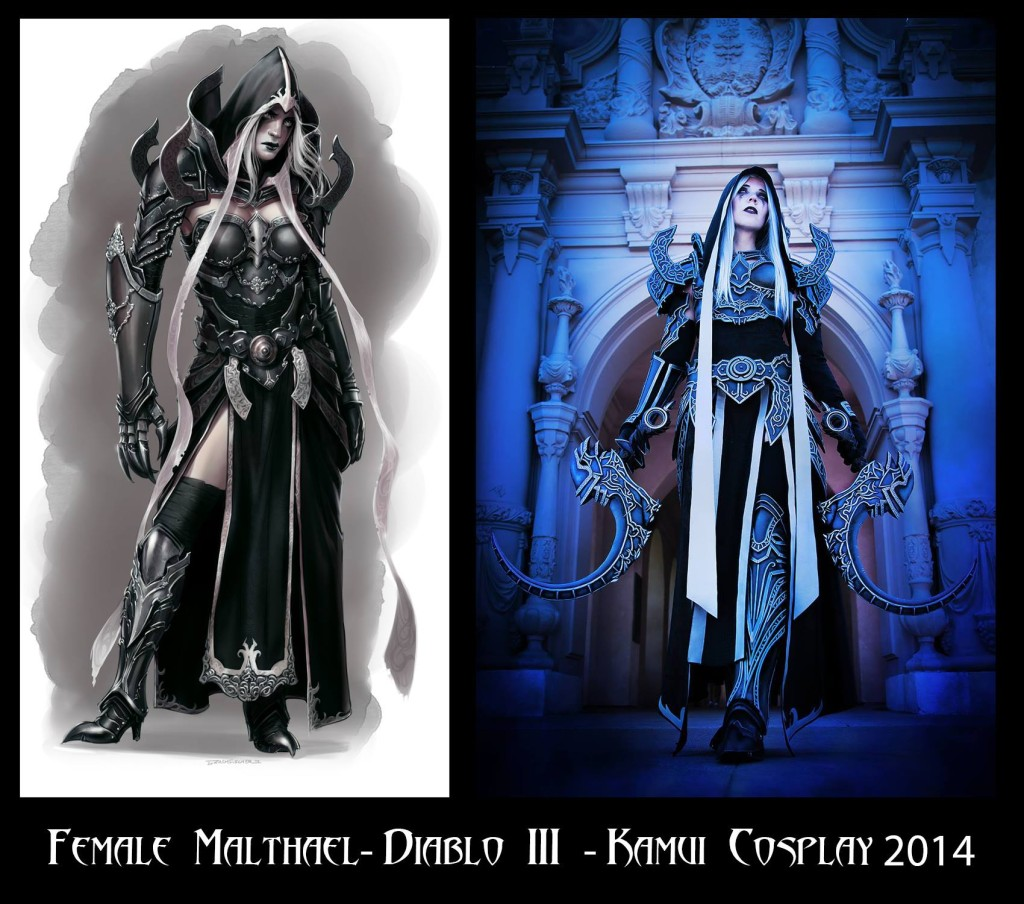 Zach's genderment Malthiel for Kamui Cosplay. Design and cosplay side by side. Photo taken from Zach's facebook page